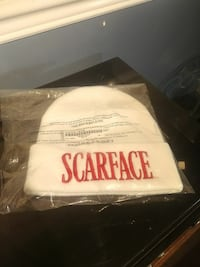 white and red Scarface knit cap
