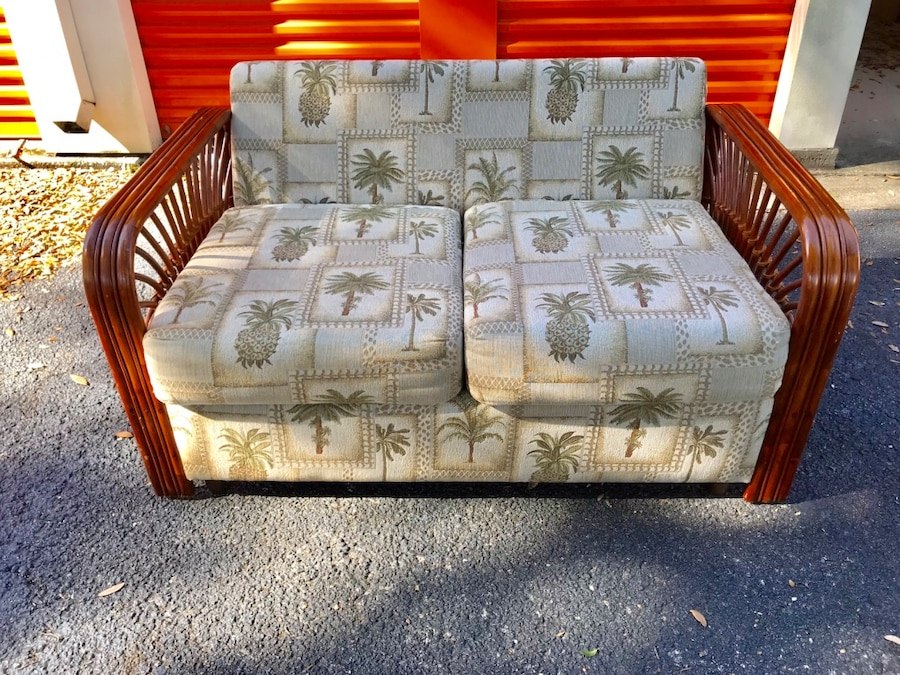Leaderu0027s Casual Furniture Wicker Rattan Vintage Palm Tree Loveseat
