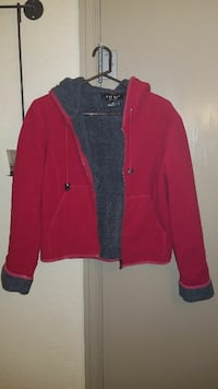 Red and grey hooded jacket