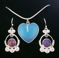 Sterling silver genuine opal light heart necklace Baltimore, 21224