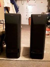 two black Sony speakers seround sound Montréal, H1K 3S7