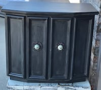 Charcoal wooden 2-door cabinet with drawer. New hardware added!  Buchanan, 54915