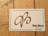 Ben Moss gift card, $100 value Winnipeg, R3L 0B8
