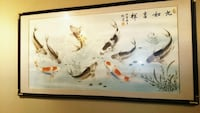 """Large koi painting.  the fish represents wealth and prosperity because the actual word in chinese for fish also translates to """"abundance""""."""
