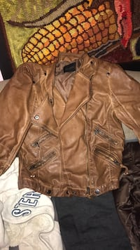 Brown Leather Jacket size M Springfield, 65804