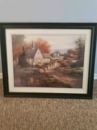 brown wooden framed painting of house Cambridge, N3H