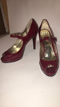 pair of red patent leather peep-toe heeled shoes Richmond, V7A 4T5
