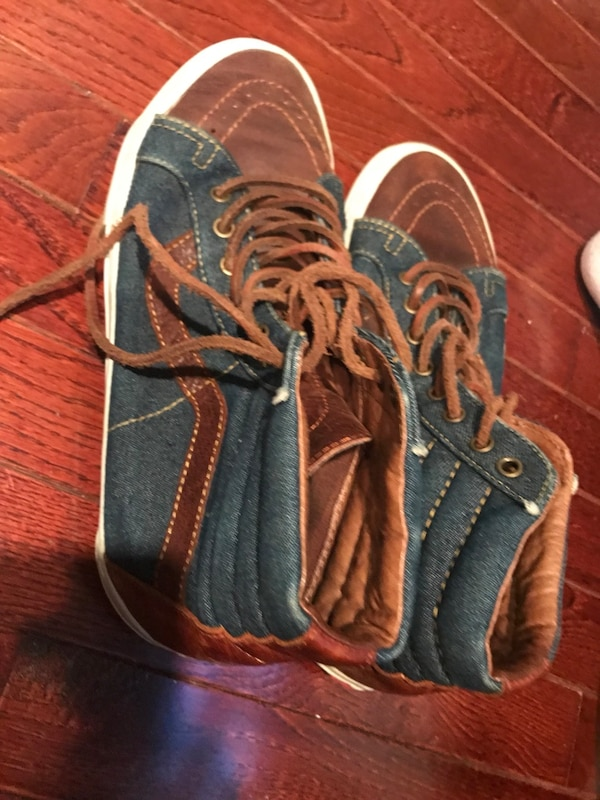 5dc775831c Used blue-brown-and-white Vans Sk8-Hi Reissue shoes for sale in New York -  letgo