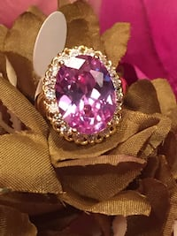 18k Gold Filled CZ Amethyst Ring Size 7,8
