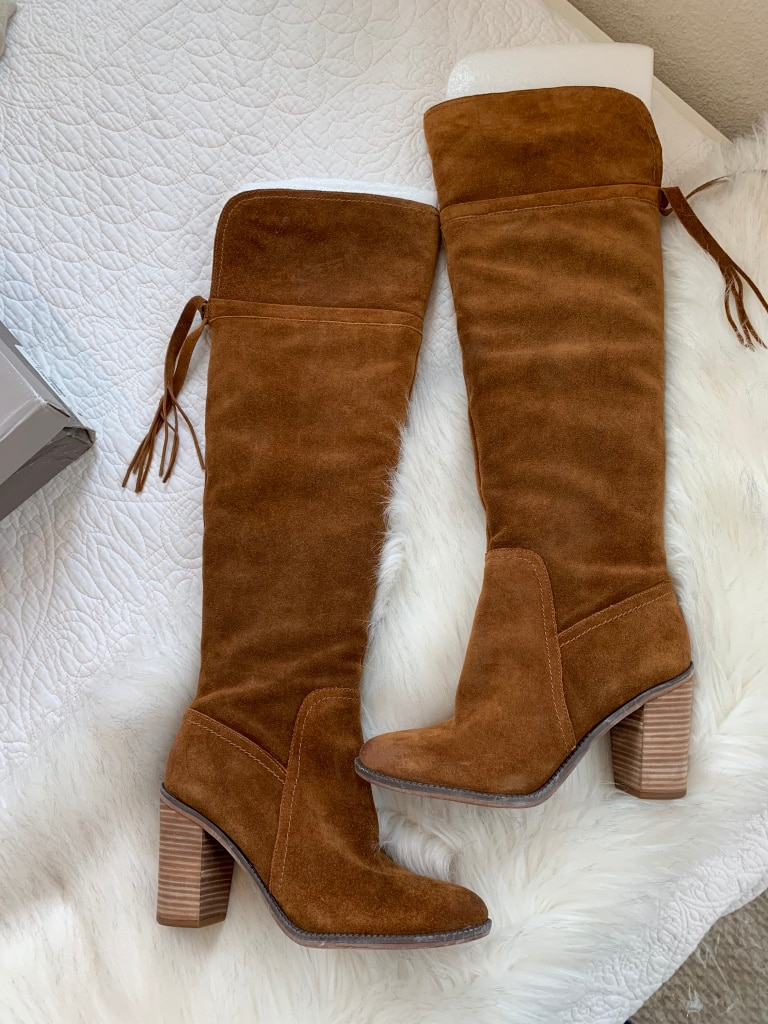 Photo NWT Franco Sarto Suede Tan Over the Knee Boot, 9 ($150)