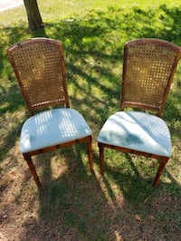 2 Wooden Chairs with Green Cloth Seat
