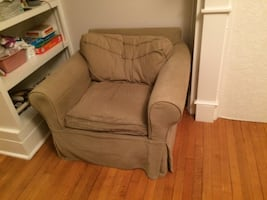 Pottery barn chair with ottoman