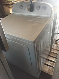 white Whirlpool front-load clothes washer