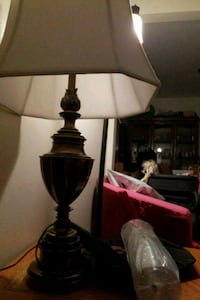 two brown wooden base white shade table lamps Los Angeles, 90008
