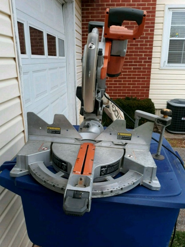 white and black miter saw