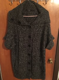 gray and black button-up coat