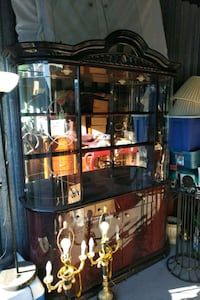 brown wooden framed glass display cabinet Coquitlam, V3B 7W4