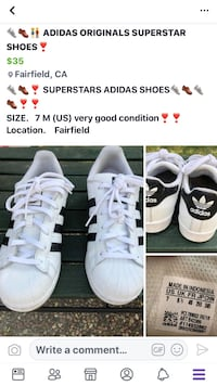 pair of white Adidas low-top sneakers Fairfield, 94533