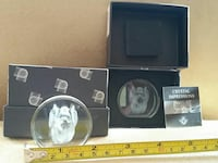 2 dog crystal impressions 3D glass etched with box