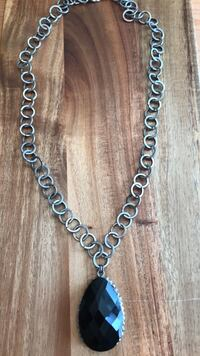 black pendant silver chain necklace