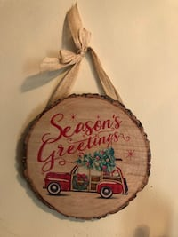 "CHRISTMAS 9.5"" wood grain christmas hanging plaques $10/ea  Bolton, L7E 1X8"
