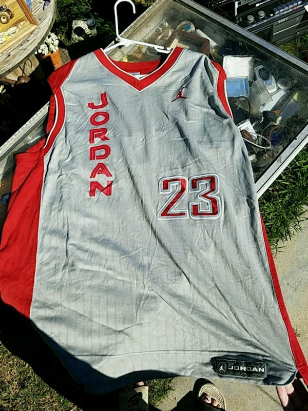 Used gray and red Air Jordan basketball jersey shirt for sale in Redlands -  letgo 437c4e2d8