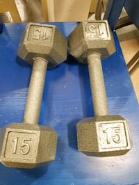 Steel Hex Dumbbell Weights , 2 x 15 lb Fitness Strength Training Bolton, L7E 1X7