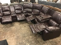 black leather recliner sectional couch San Antonio, 78217