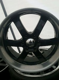 black 5-spoke car wheel