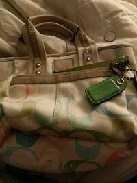 brown and green Coach monogram shoulder bag Columbia, 29210