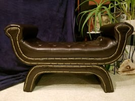 Leather Button Tufted Rolled Arm Bench, Brown