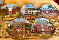 Set of (5) Vintage 1980s Ridgewood Colonial Heritage Series Collectors Plates rimmed in 24k gold. Kansas City, 64118