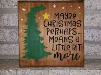 "Handmade wooden sign ""maybe christmas..."" 38 km"