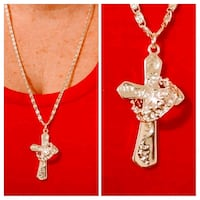 silver chain necklace with cross pendant Glen Burnie, 21061