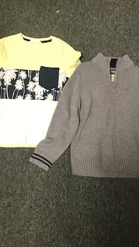 Two grey and yellow sweaters
