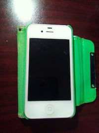 white iPhone 4 with green case