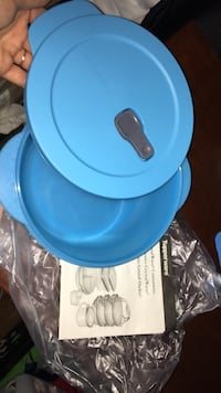 blue plastic container with lid