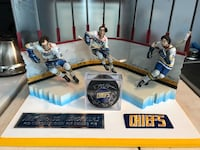 Slap Shot- McFarlane Figure Display. Includes Signed Puck By All 3 and Nameplate with Patch Mount Sinai, 11766