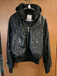 black leather zip-up jacket Division No. 11, T8E