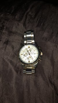 round silver-colored chronograph watch with link bracelet Austin, 78747