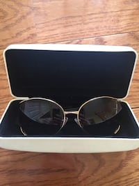 Silver framed sunglasses with case