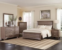 Queen / Full Rustic Washed Taupe 6pc Bedroom Set Charlotte, 28216
