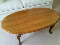 Oak coffee table and two matching end tables