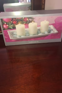 Candlescape set from Pier one- 3mini candles,tray, glass stones Silver Spring, 20905