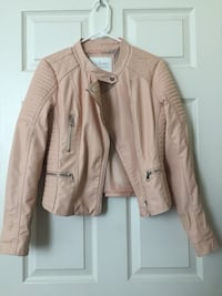 Pastel pink faux leather jacket