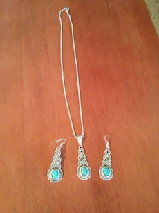 silver with blue gems pendant necklace and hook earrings set