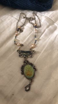 silver-colored necklace with green gemstone pendant Stockton, 95207
