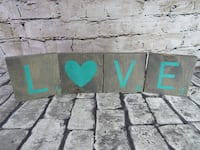 Love Scrabble Letter Wall or Shelf Home Decor Gray Stain and Teal Letter Mission