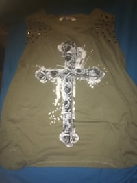 NEGOTIABLE BLUENOTES LARGE studded rose cross tank