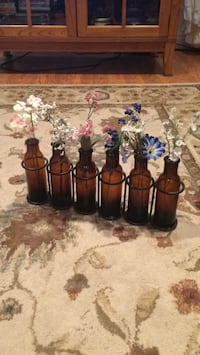 six assorted color glass bottles Houston, 15342